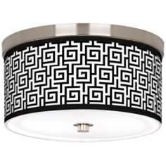 "Greek Key Giclee Nickel 10 1/4"" Wide Ceiling Light"
