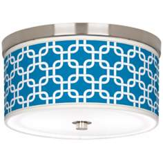 "Blue Lattice Giclee Nickel 10 1/4"" Wide Ceiling Light"