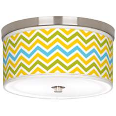 "Citrus Zig Zag Giclee Nickel 10 1/4"" Wide Ceiling Light"