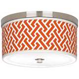 "Red Brick Weave Giclee Nickel 10 1/4"" Wide Ceiling Light"