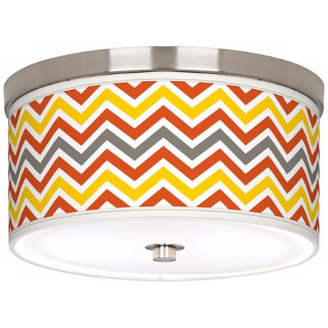 "Flame Zig Zag Giclee Nickel 10 1/4"" Wide Ceiling Light"