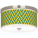 "Yellow Brick Weave Giclee Nickel 10 1/4"" Wide Ceiling Light"