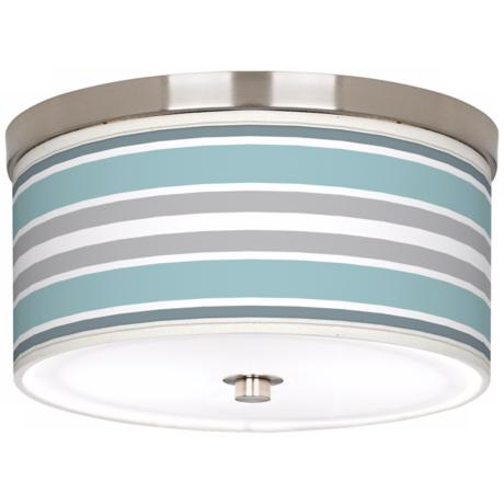"Multi Color Stripes Giclee Nickel 10 1/4"" Wide Ceiling Light"