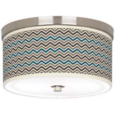 "Zig Zag Nickel 10 1/4"" Wide Ceiling Light"