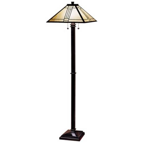 Noir Bronze Finish Mission Tiffany Style Floor Lamp