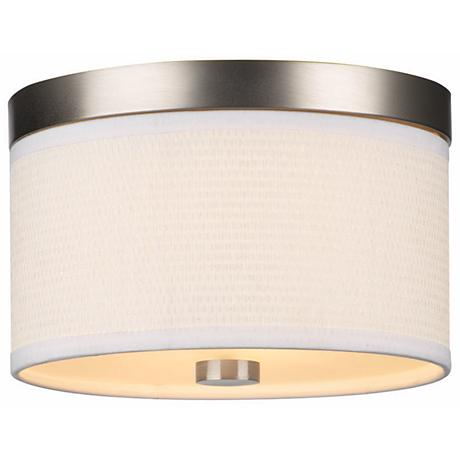 "Cassandra White and Nickel 10 3/4"" Wide Ceiling Light"