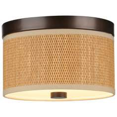 "Cassandra Natural and Bronze 10 1/4"" Wide Ceiling Light"