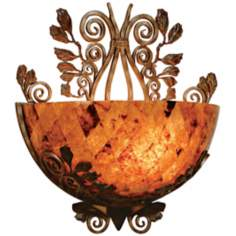 Maitland-Smith Penshell Bowl and Wrought Iron Wall Sconce