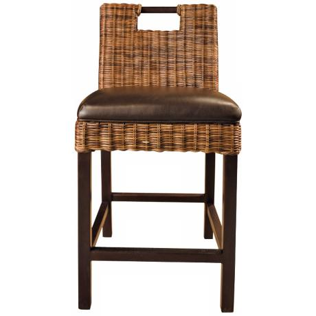 "Boston Havana Bicast Leather Rattan 30"" High Bar Stool"