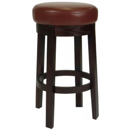 Darcy Cranberry Bicast Leather Swivel Bar Stool