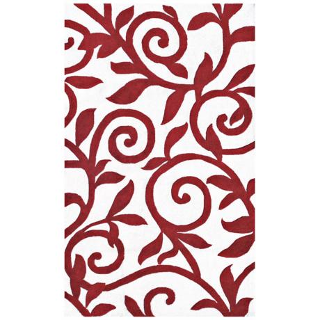 Red Rolled Branch Handmade Indoor Outdoor Rug