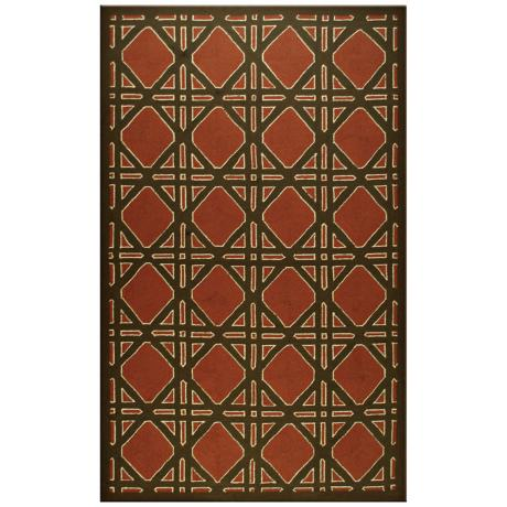 Trellis Terracotta Indoor Outdoor Rug
