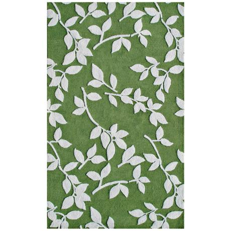 Leaves Green Indoor Outdoor Rug