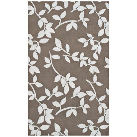 Leaves Beige Indoor Outdoor Rug