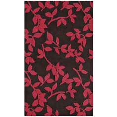 Leaves Brown Indoor Outdoor Rug
