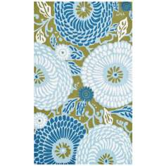 Mod Floral Blue Indoor Outdoor Rug