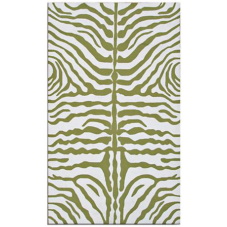 Zebra Stripe Green Indoor-Outdoor Rug