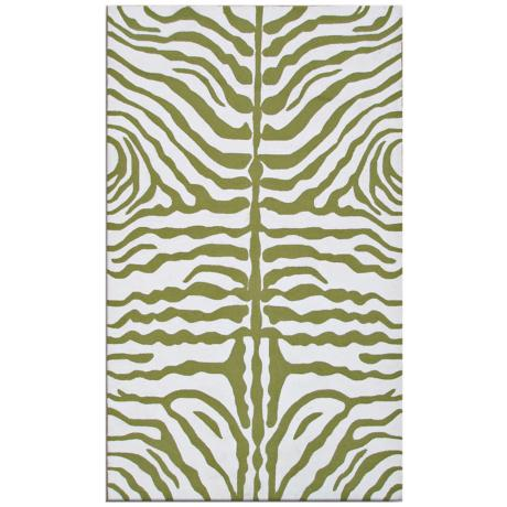 Zebra Stripe Green Indoor Outdoor Rug