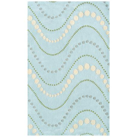 Dot Wave Blue Handmade Rug