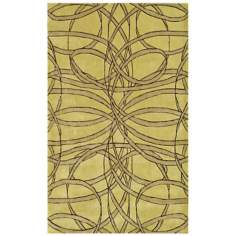 Ribbon Dance Yellow Handmade Rug
