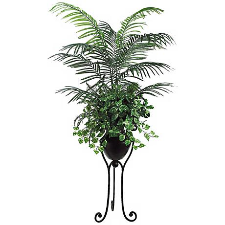 "Areca Palm 78"" High Pothos and Ferns arrang in a Metal Stand"
