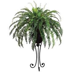 Fishtail Fern Floral Arrangement with Black Metal Stand
