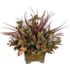 Tea Leaf Grasses and Berries Floral Arrangement