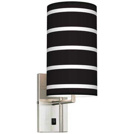 Bold Black Stripe Banner Giclee Plug-In Sconce
