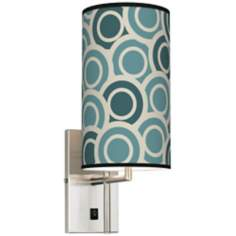 Blue/Green Circles Banner Giclee Plug-In Sconce