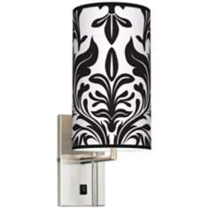 Black Tapestry Banner Giclee Plug-In Sconce