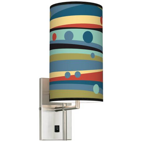 Retro Dots & Waves Banner Giclee Plug-In Sconce