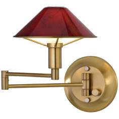 Antique Brass Magma Red Glass Swing Arm Wall Light
