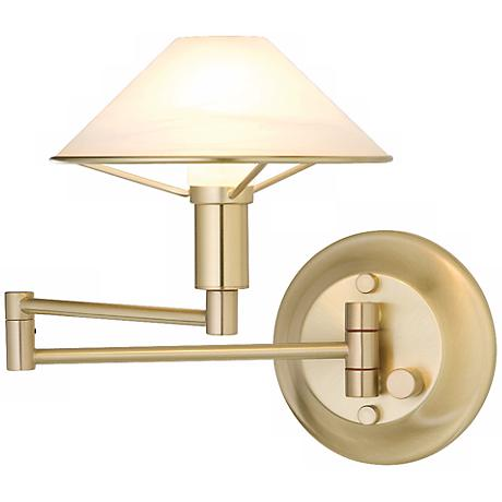 Brushed Brass Alabaster White Glass Swing Arm Wall Lamp
