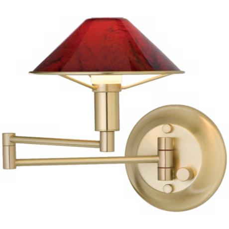 Brushed Brass Magma Red Glass Swing Arm Wall Light