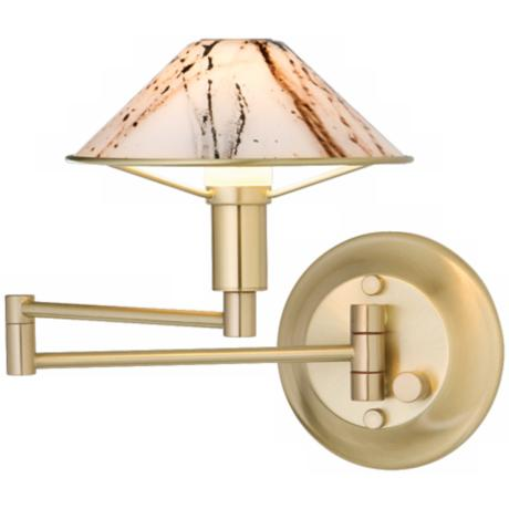 Brushed Brass Marbled Glass Swing Arm Wall Light