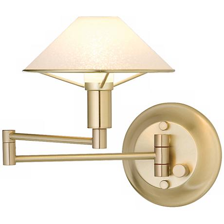 Brushed Brass Satin White Glass Swing Arm Wall Lamp