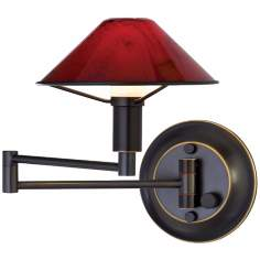 Oil Rubbed Bronze Magma Red Glass Swing Arm Wall Light
