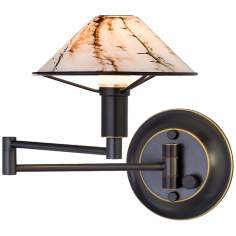 Oil Rubbed Bronze Marbled Glass Swing Arm Wall Light