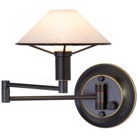 Oil Rubbed Bronze Satin White Glass Swing Arm Wall Light
