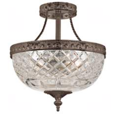 "Crystorama Majestic Bronze 10"" Wide Semiflush Ceiling Light"