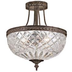 "Crystorama Majestic Bronze 12"" Wide Semiflush Ceiling Light"