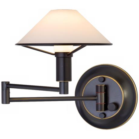 Oil Rubbed Bronze True White Glass Swing Arm Wall Light