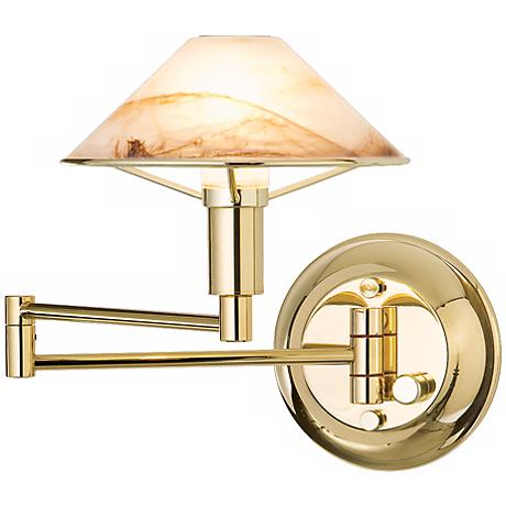 Polished Brass Alabaster Brown Glass Swing Arm Wall Lamp