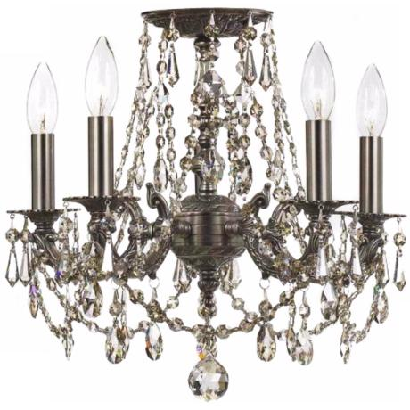 Crystorama Regis Crystal and Pewter Ceiling Light