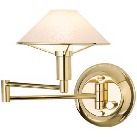 Polished Brass with Satin White Glass Swing Arm Wall Light