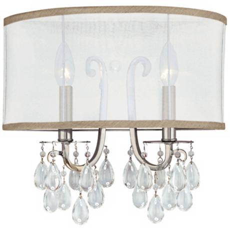 "Crystorama Hampton Silver Shade 14"" Wide Wall Sconce"