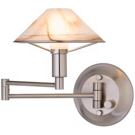 Satin Nickel Alabaster Brown Glass Swing Arm Light