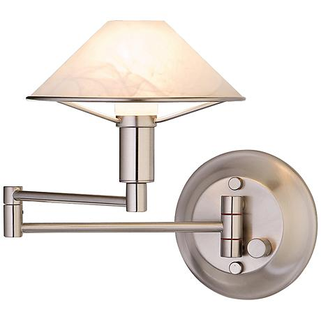 Satin Nickel Alabaster White Glass Swing Arm Wall Lamp