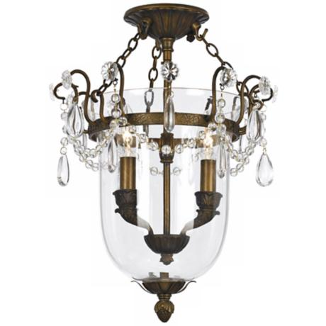 "Crystorama New Town Brass 13"" Wide Semiflush Ceiling Light"