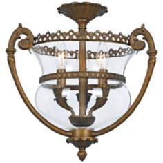 "Crystorama Camden Brass 16"" Wide Semiflush Ceiling Light"